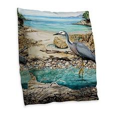 White Faced Heron Burlap Throw Pillow