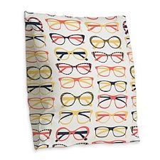 Hipster Glasses Burlap Throw Pillow