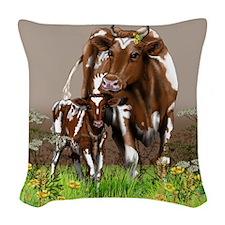 Cow And Calf Woven Throw Pillow
