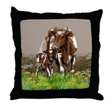 Cow And Calf Throw Pillow