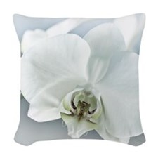White Orchid Flower Woven Throw Pillow