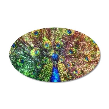 Peacock 20x12 Oval Wall Decal