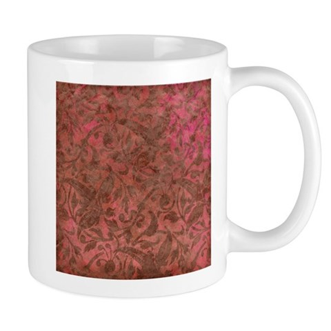 Grunge Red Flourish Vintage Antique Pattern Mugs