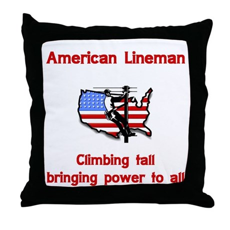 American Lineman Throw Pillow