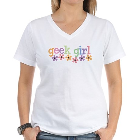 Geek Girl Daisies Women's V-Neck T-Shirt