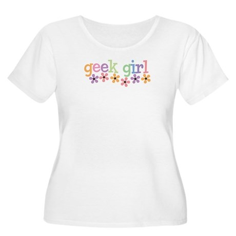 Geek Girl Daisies Women's Plus Size Scoop Neck Tee