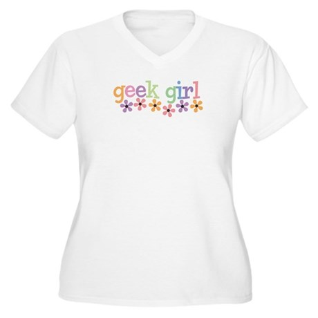 Geek Girl Daisies Women's Plus Size V-Neck T-Shirt