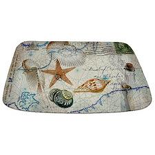 seashells nautical map vintage anchor Bathmat