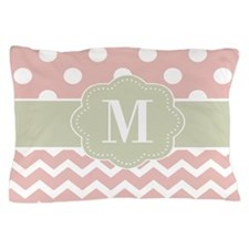 Pink Green Chevron Dots Personalized Pillow Case