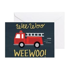 Wee Woo Firetruck Birthday Card Greeting Cards
