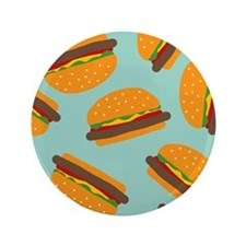 "Cute Burger Pattern 3.5"" Button"
