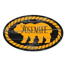 Yosemite Rustic Bear Gold Sticker (oval)