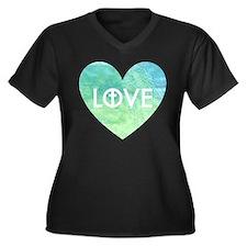 Love for Jes Women's Plus Size V-Neck Dark T-Shirt