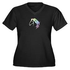Soft Pastel Colored Horse Head Logo Plus Size T-Sh