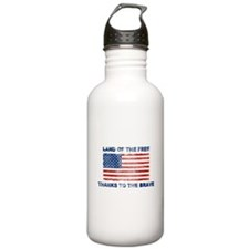 Land Of The Free Thanks To The Brave Water Bottle