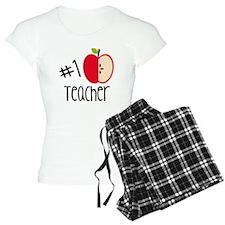 #1 Teacher With Red Apple Pajamas