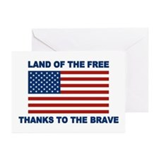 Land Of The Free Thanks To The Brave Greeting Card