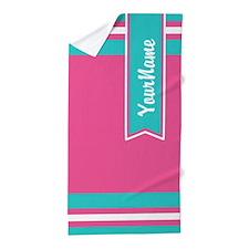 Pink Monogram Stripe Beach Towel