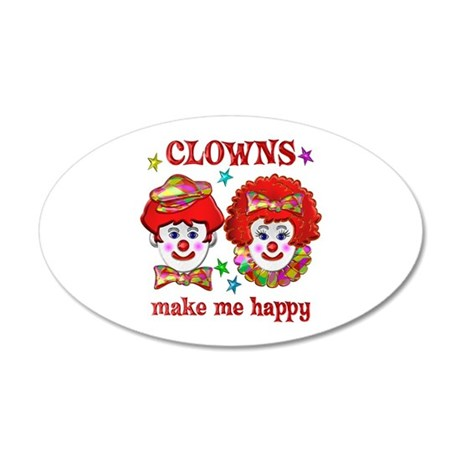 CLOWN Happy 20x12 Oval Wall Decal