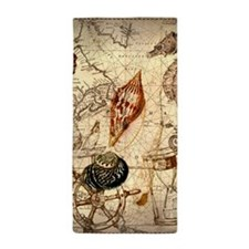 seashells nautical map vintage anchor Beach Towel