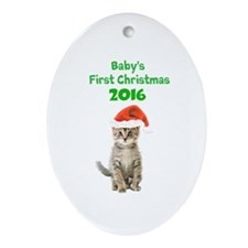 Babys First Christmas Ornament (Oval)