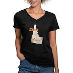 Udapimp Idaho Women's V-Neck Dark T-Shirt