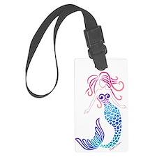 White Tribal Mermaid Luggage Tag