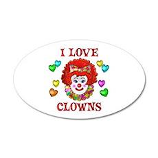 I Love Clowns 20x12 Oval Wall Decal