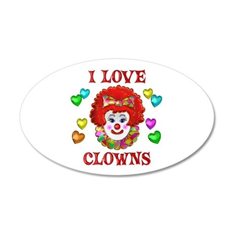 I Love Clowns 35x21 Oval Wall Decal