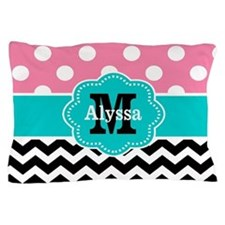 Pink Blue Dots Chevron Personalized Pillow Case