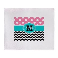 Pink Teal Black Chevron Dots Personalized Throw Bl
