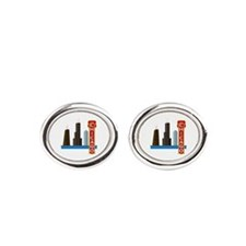 Chicago Illinois Skyline Oval Cufflinks
