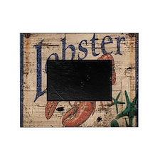 vintage lobster woodgrain beach art Picture Frame
