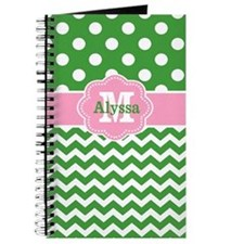 Pink Green Chevron Dots Personalized Journal