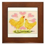 Buff Chantecler Hearts Framed Tile