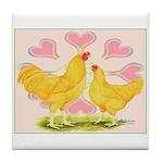 Buff Chantecler Hearts Tile Coaster
