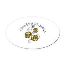 l bee-long to jeans Oval Car Magnet