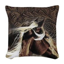modern horse brown leather texture Woven Throw Pil