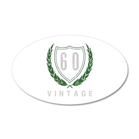 60th Birthday Laurels 35x21 Oval Wall Decal