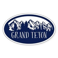 Grand Teton Rustic Mountain Blue Decal