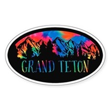 Grand Teton Rustic Mountain Tiedye Decal