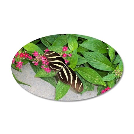 Yellow Black Butterfly Pink 20x12 Oval Wall Decal
