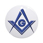 Modern Blue Lodge S&C Ornament (Round)