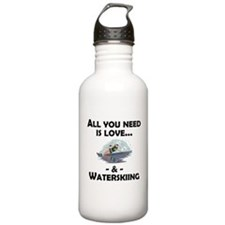 Love And Waterskiing Water Bottle