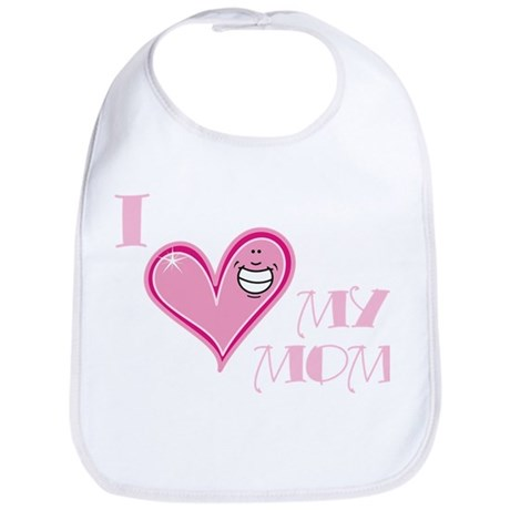 I Love Heart My Mom Mother's Pink Bib