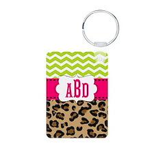 Pink Green Chevron Leopard Monogram Keychains