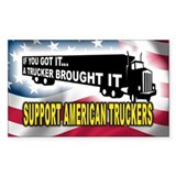 Support American Truckers -Rectangle Decal