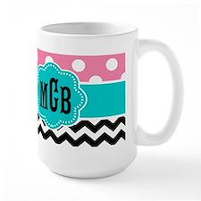 Pink Teal Black Chevron Dots Monogram Mugs