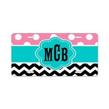 Pink Teal Black Chevron Dots Monogram Aluminum Lic
