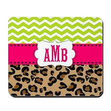 Pink Green Chevron Leopard Monogram Mousepad